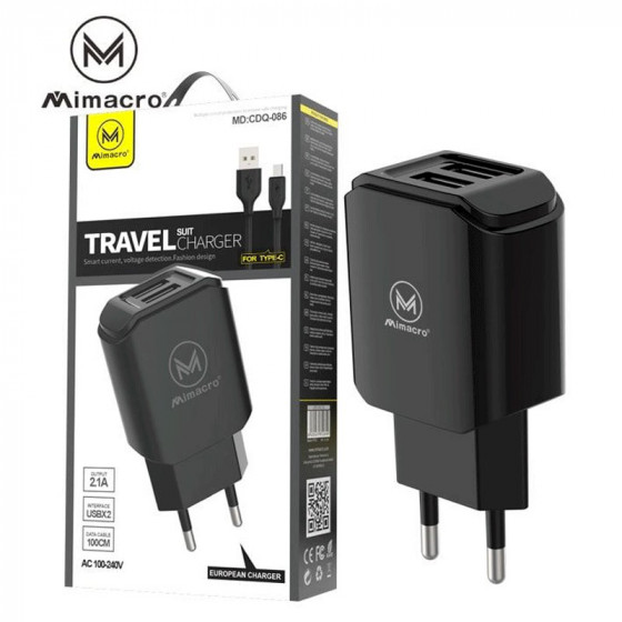 Cable Mimacro European Charger - 2.1A - USB-C