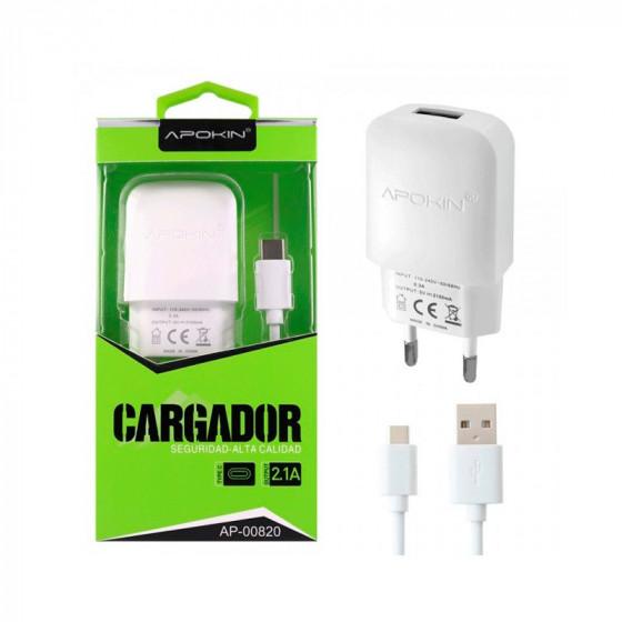 Cargador 2.1A + Cable Tipo C - 1 metro - Apokin