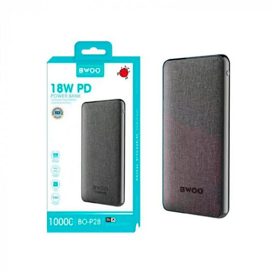 Powerbank Bwoo BO-P28 10000mAh 3.0A Batería Externa + Cable - Entrada tipo C, microUSB y lightning