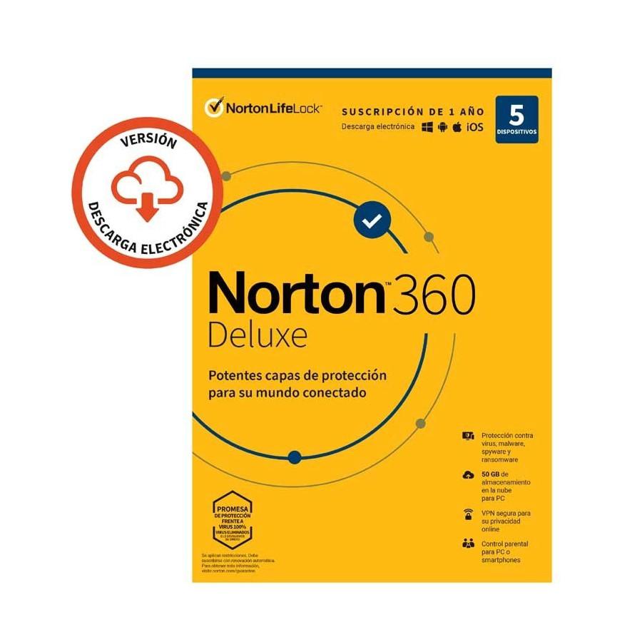 Antivirus Symantec Norton 360 Deluxe - 1 año - nube 50GB
