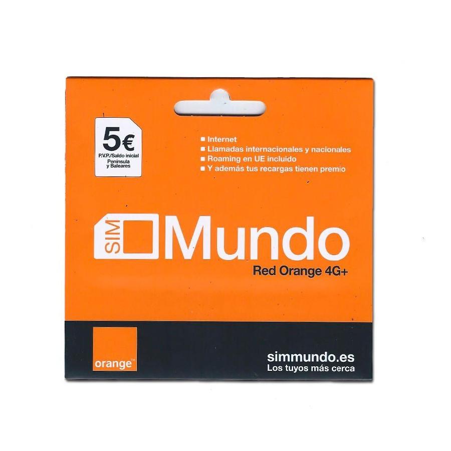 Tarjeta SIM prepago Orange Mundo - 5€ saldo - Internet 4G+