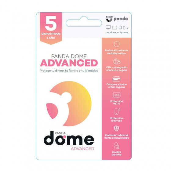 Licencia anual del antivirus Panda Dome Advance - 5 dispositivos