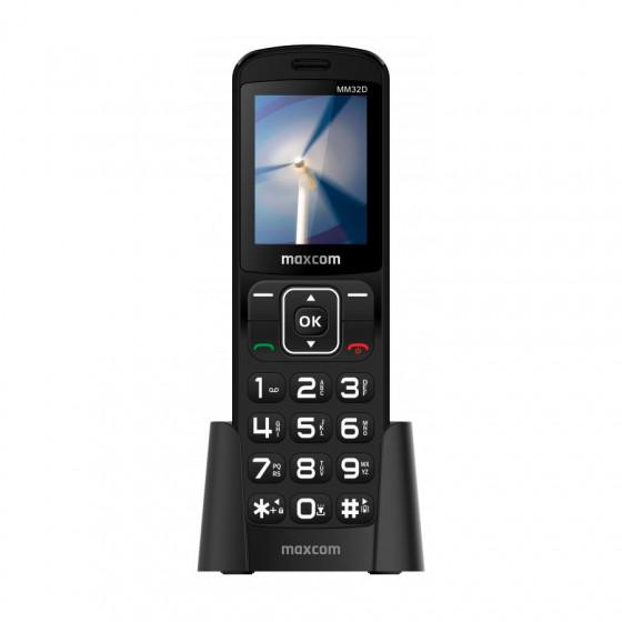 Teléfono móvil Maxcom MM32D - Teclas grandes - Similar a un inalámbrico - Con base de carga