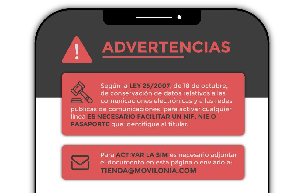 advertencias para activar una línea móvil