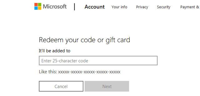 canjear código PIN de Microsoft XBOX