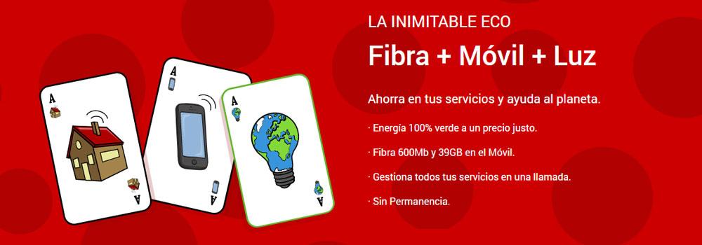 tarifa de fibra + móvil Inimitable ECO de Pepephone