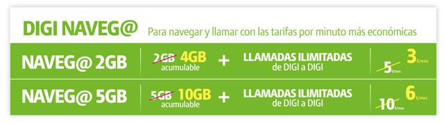 tarifas solo Internet móvil 4G de Digi